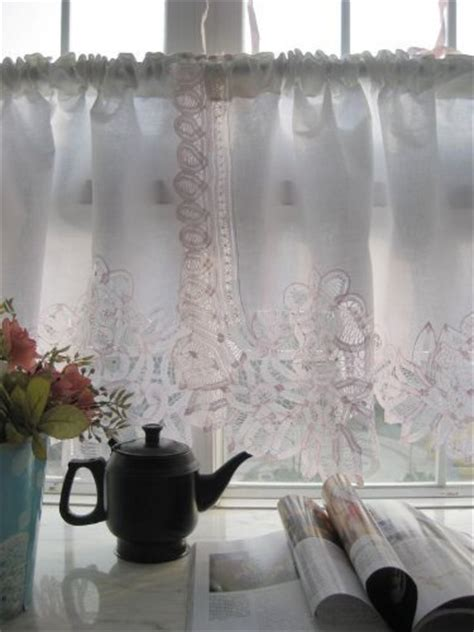 vintage pink battenburg on white cotton valance cafe curtain by s deco http www