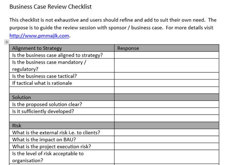 Pmo Business Case Review Checklist Inc Free Template