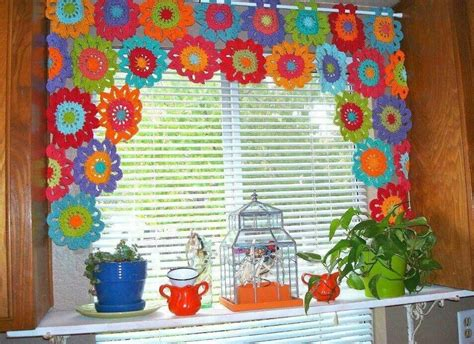 Crochet Flower Curtains! I Love Them! Red And White Striped Fabric For Curtains How To Put In A Bay Window Double Curtain Rod Hardware Do You Beaded Door Uk Chin Beard With Mustache Fabrics Sydney 144 Inch Black