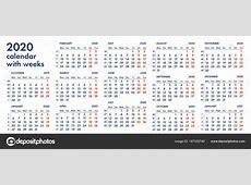 2020 la red calendario con semanas vector ilustración