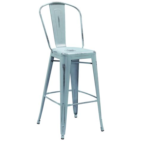tolix style distressed indoor outdoor bar stool with back 30 quot high tabouret tolix style stools