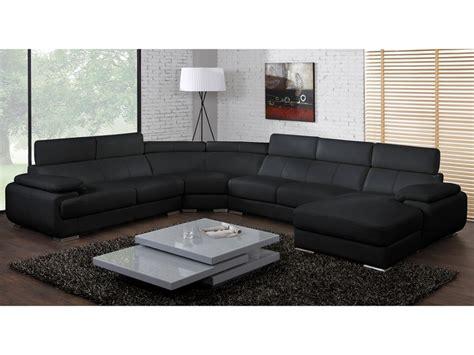 canap 233 panoramique cuir 7 places elevanto noir ou blanc