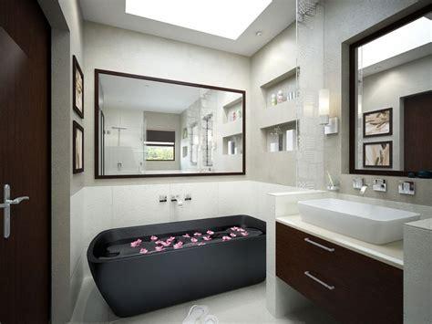 Monochrome Bathroom With Black Tub And Mirrors  Interior