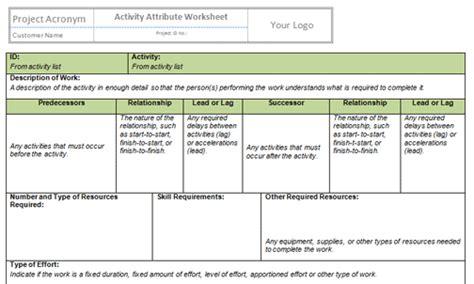 Project Definition Worksheet Template  Kidz Activities