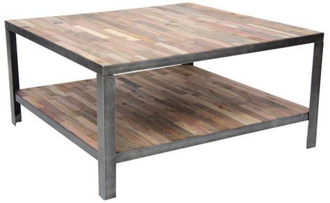 table basse en bois et fer forge ezooq