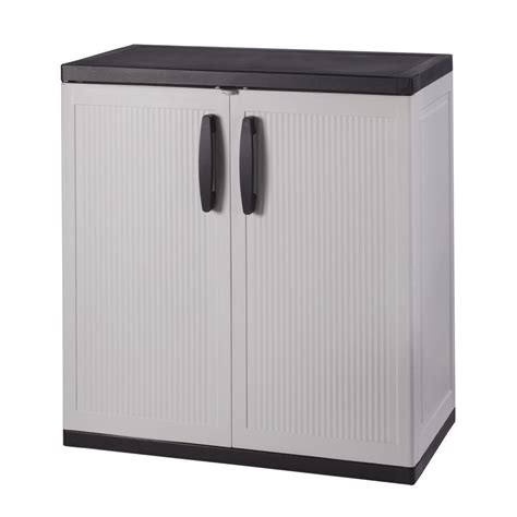 hdx 36 in h x 36 in w x 18 in d plastic 2 shelf multi purpose base cabinet in gray shop