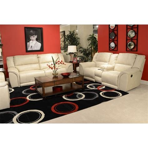catnapper carmine lay flat reclining leather sofa set in