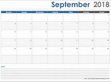 September 2018 Calendar with Space Note Printable 2017