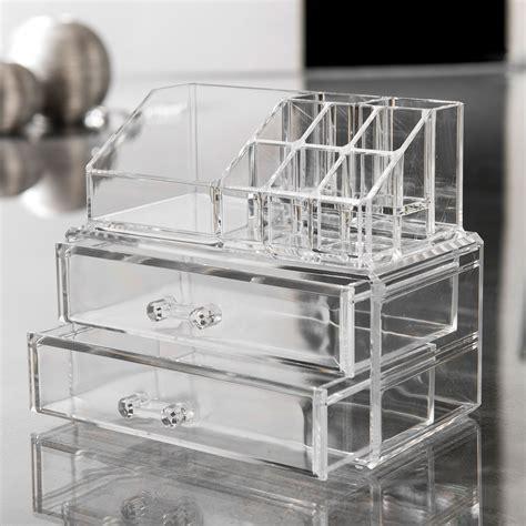 boite bijoux maquillage acrylique 2 tiroirs 18 8x11 7x15 8cm organizer compactor home
