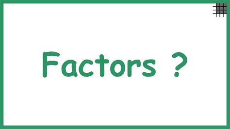 What are Factors? YouTube