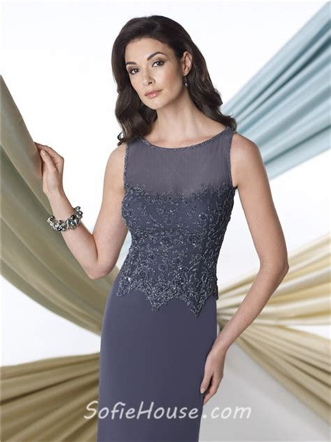 Boat Neck Mother Of The Groom Dress by Sheath Illusion Boat Neck Charcoal Grey Chiffon Beaded