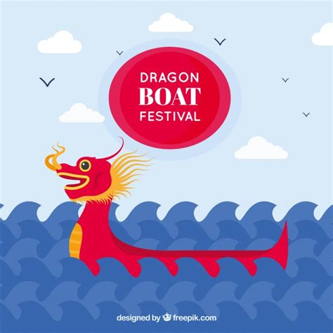 Dragon Boat Festival Vector by Dragon Boat Festival Background With Waves Vector Free