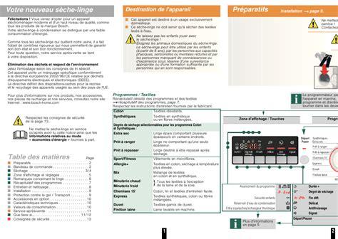bosch wtb84200ff avantixx 7 s 232 che linge 224 condensation manuel d utilisation page 3 10 mode