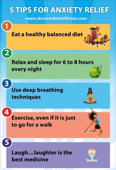 5 tips for anxiety relief infographic anxiety relief