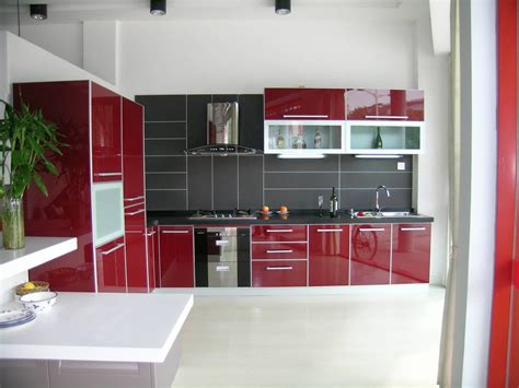 Home Design N Colour : Home Design, Lavish Red Kitchen Cabinet Feats With L