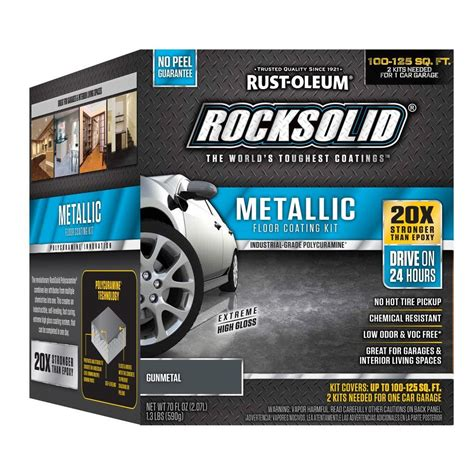 rust oleum rocksolid 70 oz gunmetal metallic garage floor