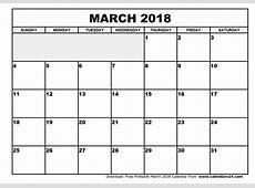 March 2018 Calendar monthly calendar 2017