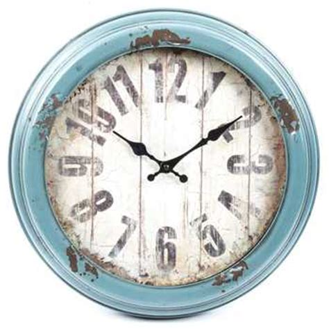 antique blue distressed metal wall clock hobby lobby 973461
