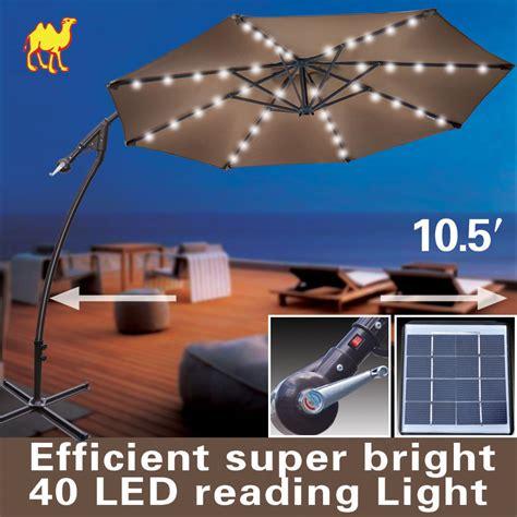9ft cantilever solar powered led light patio umbrella outdoor garden ebay