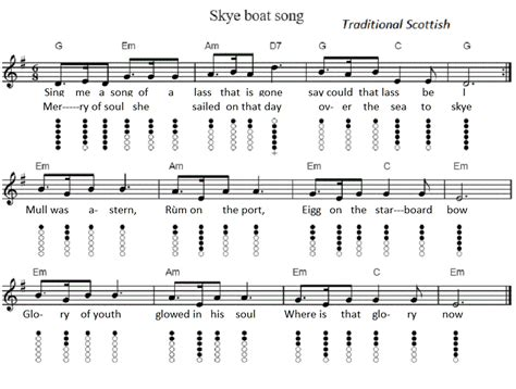 Boat Song To Skye by The Skye Boat Song Tin Whistle Sheet Music Irish Folk Songs