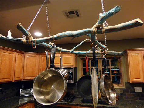 pots and pans rack with unique twigs do it yourself hanging pot and pan rack ideas popular home