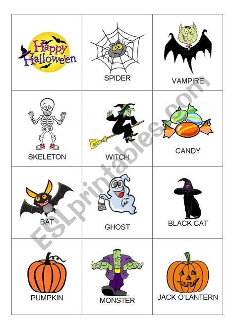 English Worksheets Halloween Flashcards