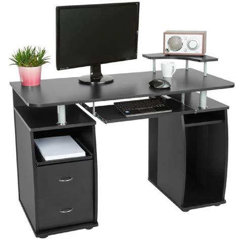 bureau informatique multim 233 dia meuble de bureau pour ordinateur 115 cm couleur noir 2 tiroirs