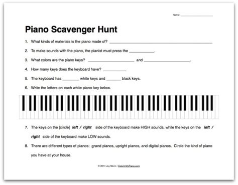 Worksheet About The Piano Scavenger Hunt  Color In My Piano