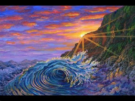 peindre la grande vague de la mer a l aide de l acrylique sur la toile expliquee