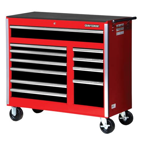 craftsman 42 quot 11 drawer rolling storage cabinet with bearing slides black shop your