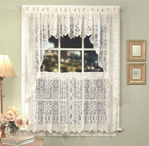 hopewell lace kitchen curtain white or tiers swags valances new ebay