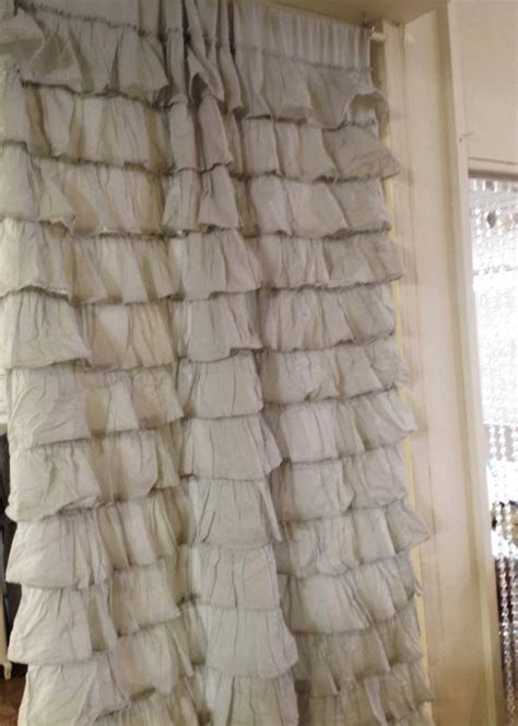 set of 2 shabby provincial chic grey petticoat ruffle curtain drape panel ebay