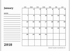 2018 Blank Calendar Template with Notes Free Printable