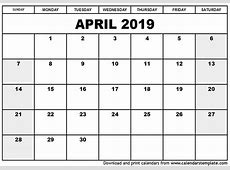 April 2019 Printable Calendar calendar month printable