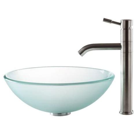 Home Depot Kraus Vessel Sink by Kraus Vessel Sink In Frosted Glass With Aldo Faucet In
