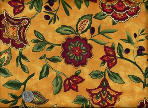 1/2 Yard Quilt Fabric Sorento Tuscan Floral Yellow Gold Quinceanera Table Settings Trestle Set Black Round Kitchen Setting Cover Contemporary Proper Fine Dining Tables Sets Corner Booth