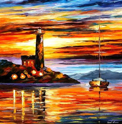 Boat Paintings By Famous Artists by Leonid Afremov Oil On Canvas Palette Knife Buy Original