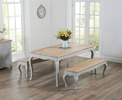 Parisian Cm Grey Shabby Chic Dining Table With Benches