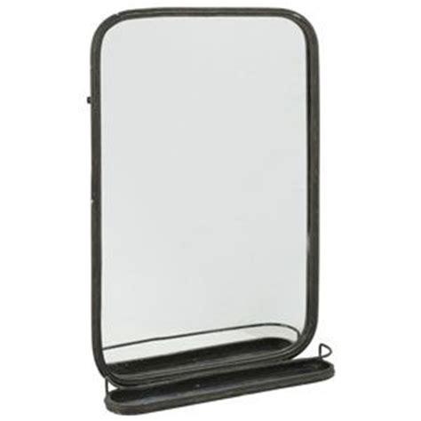 grand miroir rectangulaire en m 233 tal noir avec tablette athezza 119 salle de bains